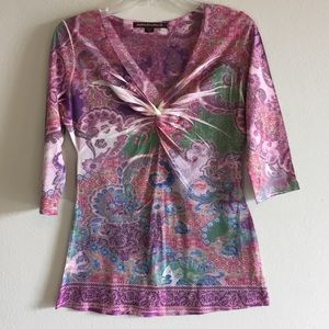 Tops - NWT Twist Knot Front Paisley Indian Floral Top